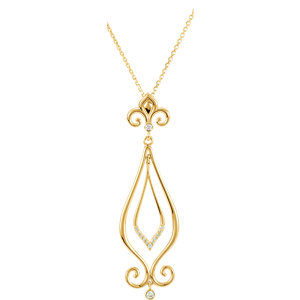 Fleur-De-Lis Design Scroll Pendant or Necklace