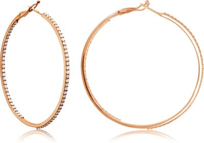 Diamond Hoop Earrings 14K Rose Gold