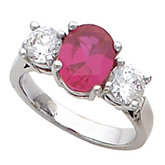 3-Stone Ring Mounting for Oval & Round Gemstone
