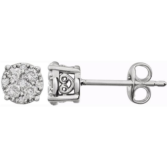 14K White 1/6 CTW Diamond Cluster Friction Post Earrings