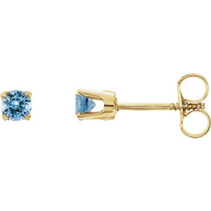 14K Yellow Imitation Aquamarine Youth Earrings