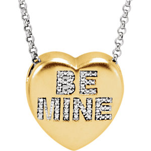 ".02 CTW Diamond ""Be Mine"" Heart Necklace"
