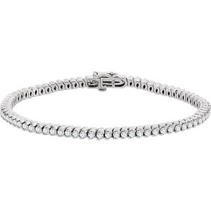 "14K White 2 3/4 CTW Diamond 7"" Line Bracelet"