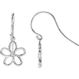 Sterling Silver . 6 ATW<br> Diamond Flower Earrings