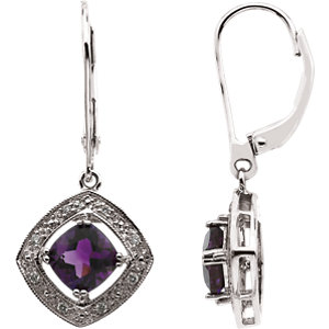 Amethyst & Diamond Halo-Styled Earrings or Semi-Mount