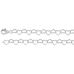 Sterling Silver Heart Link Chain 6mm