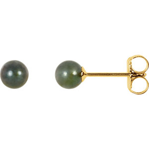 14kt Yellow 4mm Black Akoya Aultured Pearl Earrings
