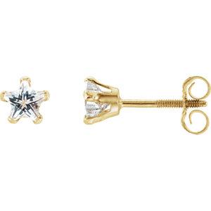 14K Yellow Youth Cubic Zirconia Star Earrings