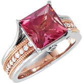 Genuine Pink Tourmaline, Tsavorite Garnet & 1/4 ct tw Diamond Ring