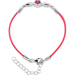 "Sterling Silver BFlower™ Fushia CZ 6.5-7.5"" Nylon Bracelet"