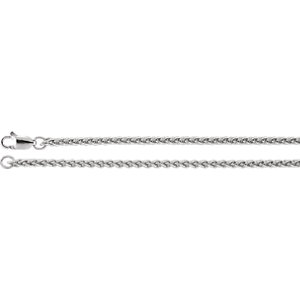 "Sterling Silver 2.4mm Wheat 24"" Chain"