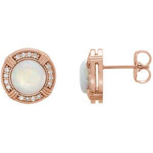 14kt Rose Opal & 1/6 ATW<br> Diamond Earrings