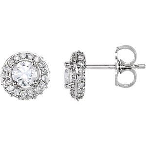 14kt White 7/  ATW<br> Diamond Earrings