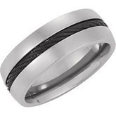 Titanium Band with Black Cable Inlay