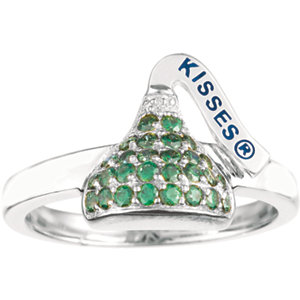 Sterling Silver August HERSHEYS KISSES Aubic Zirconia Birthstone Ring