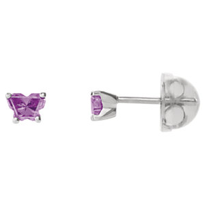 Sterling Silver June<br> Bfly® AZ Birthstone<br> Youth Earrings with<br> Safety Backs & Box