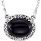 Gemstone & Diamond Halo-Style Necklace