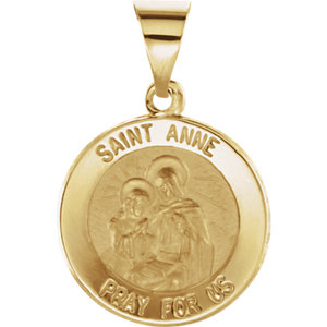 14kt Yellow 15mm Round Hollow St. Anne Medal