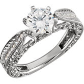 Diamond Semi-mount Engagement Vintage-Style Ring or Band
