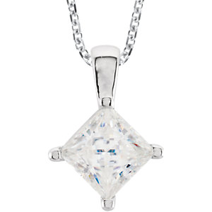 Created Moissanite Princess/Square 4-Prong Solitaire Necklace