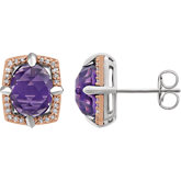 Amethyst & Diamond Halo-Style Earrings