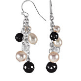 Onyx, Crystal & Freshwater Cultured Pearl Earrings
