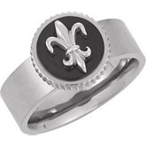 Titanium Band with Black Enamel & Fleur-de-lis