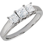 Cubic Zirconia Princess Cut 3-Stone  Ring