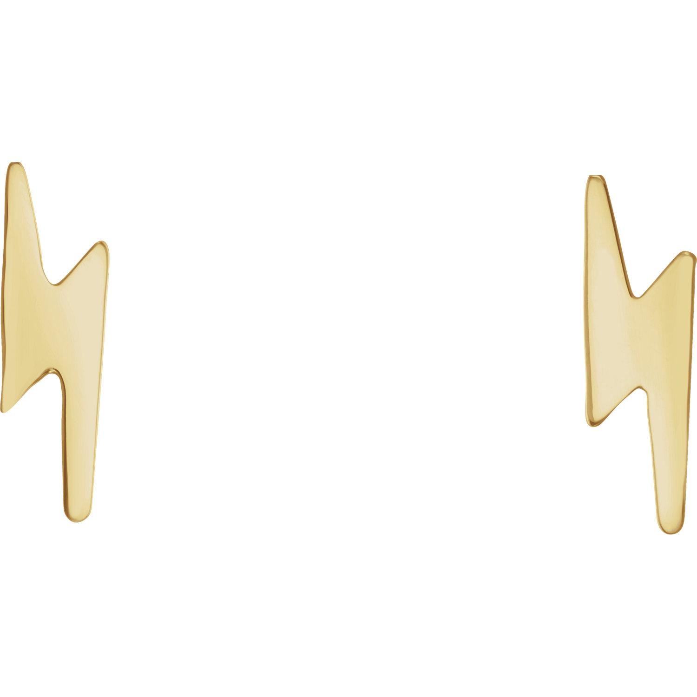 14kt Yellow Lightning Bolt Earrings