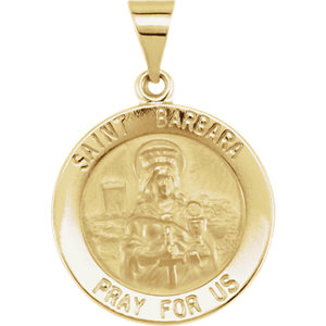 14kt Yellow 18.25mm Round Hollow St. Barbara Medal