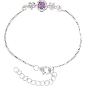 "Sterling Silver BFlower™ Purple CZ 6.5-7.5"" Bracelet"