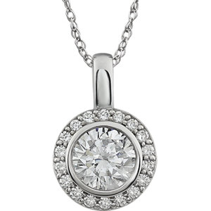 Cubic Zirconia Halo-Styled Necklace