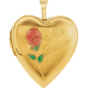 14K Yellow 20.5x19.25mm Mis Quince Heart Locket