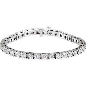 "18K White 9 CTW Diamond Line 7.25"" Bracelet"