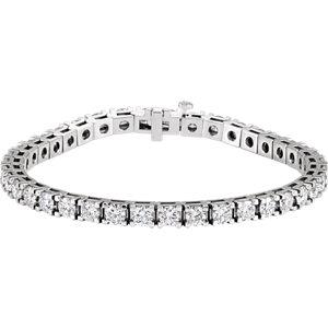 "14K White 9 3/4 CTW Diamond Line 7.25"" Bracelet"
