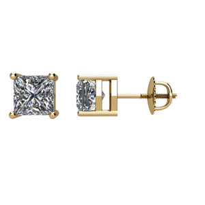 1₁ G-H Princess-Cut Diamond Threaded Post Stud Earrings