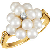 Accented Ring Mounting for Pearl Cluster