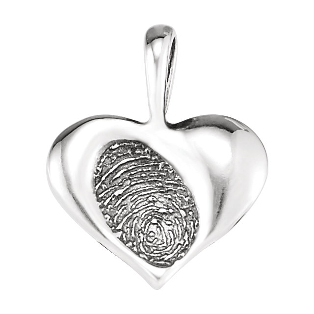 Sterling Silver 15.7x13mm Small Heartprint Pendant