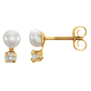 14K Yellow Youth Freshwater Cultured Pearl and Cubic Zirconia Earrings