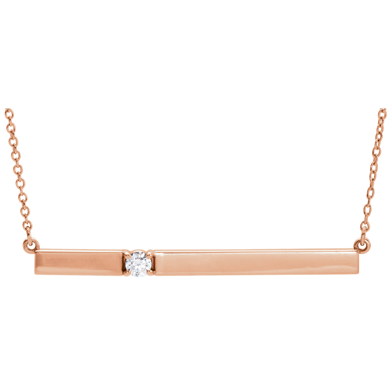 "14kt Rose 1/10 CTW Diamond Bar 17.5"" Necklace"