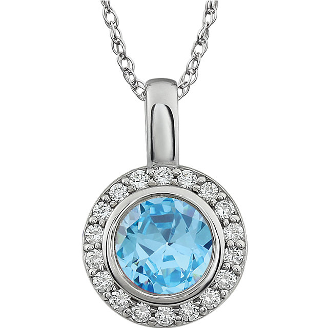 """Sterling Silver Light Blue Cubic Zirconia 18"""" Necklace"""