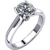 4-Prong Solitiare Engagement Ring with Accent