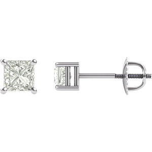 Created Moissanite Princess/Square 4-Prong Threaded Post Stud Earrings
