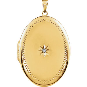 Oval Locket with Stone Accent