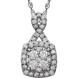 Halo-Styled Diamond Necklace