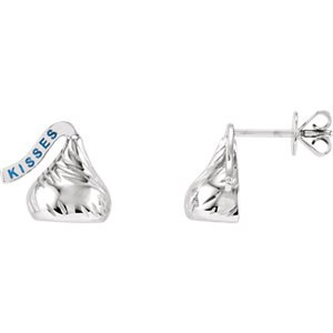 14kt White HERSHEYS KISSES Flat Back Stud Earrings