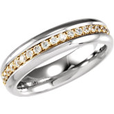 Titanium Band with 14K Gold Inlay and Cubic Zirconia