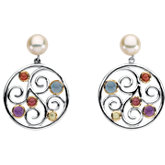 Freshwater Cultured Pearl & Multi-Gemstone Earrings
