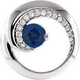 Blue Sapphire & Diamond Circle Pendant or Semi-mount