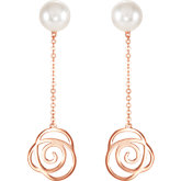 Freshwater Cultured Pearl Floral Design Earrings